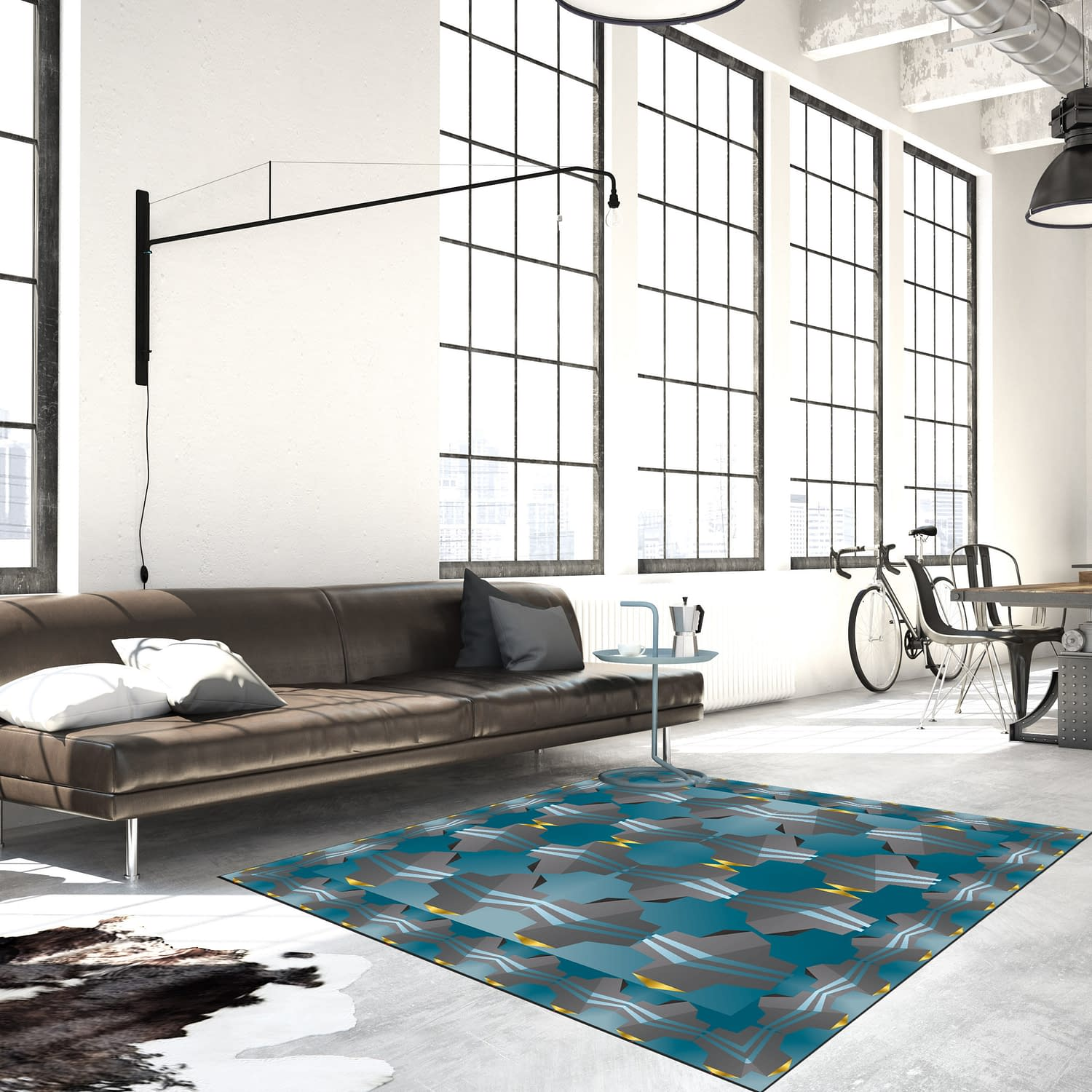 Spiral stairs and living room in modern loft.3d rendering
