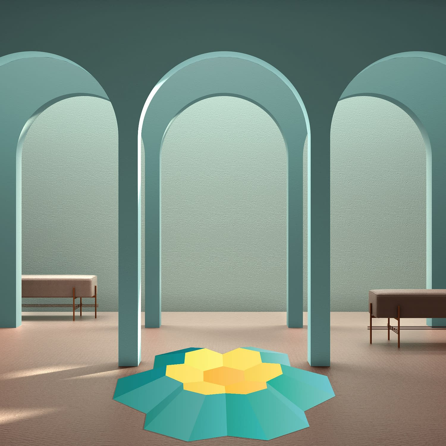 Classic eastern lobby, modern colored hall with stucco walls, interior design archways, empty space with ceramic tiles, bench, sofa, seat, blue background, arches with copy space