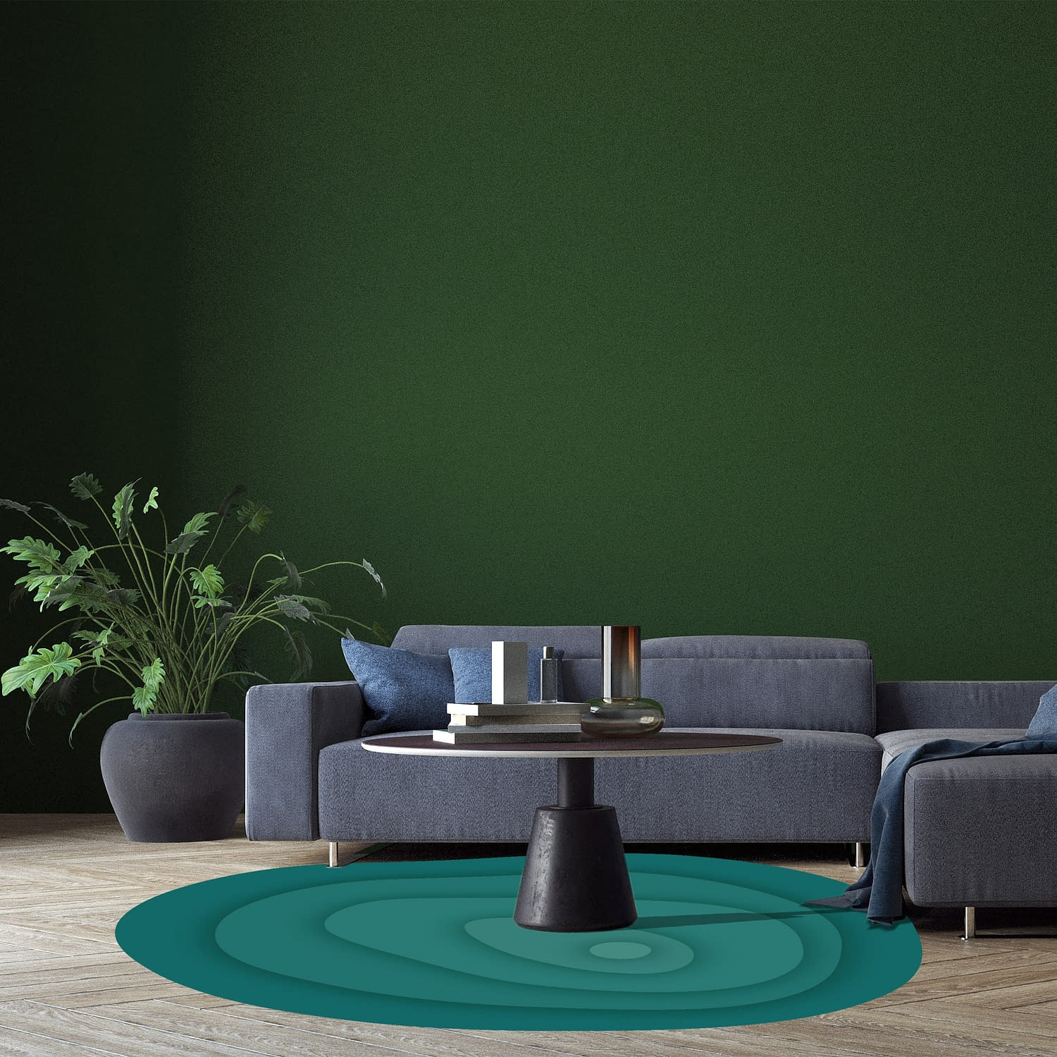 Modern deign of interior living room and green wall pattern text