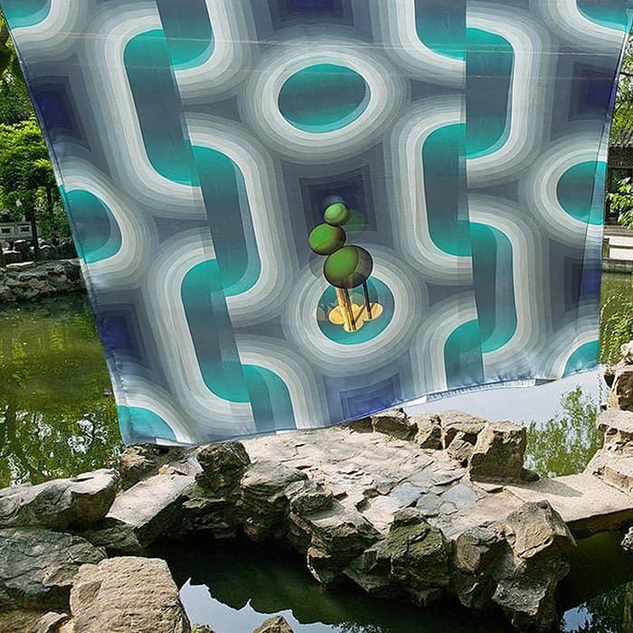 foulard bleu jardin liu yuan chine