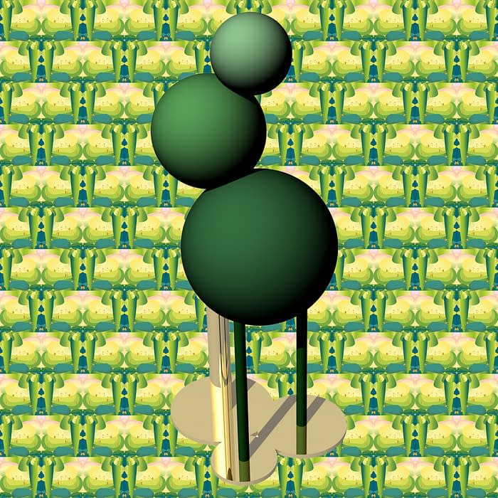 totem 3D arbre fond vert