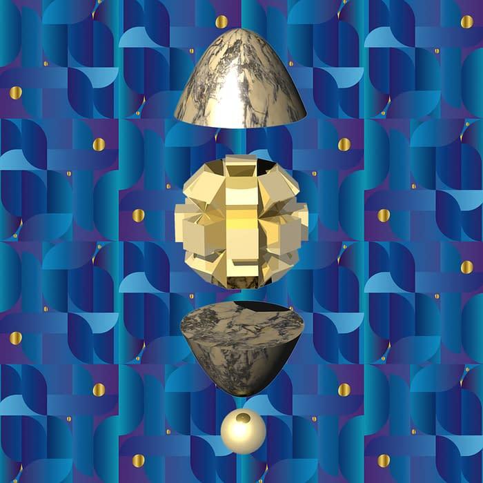 totem 3D bijoux motif bleu