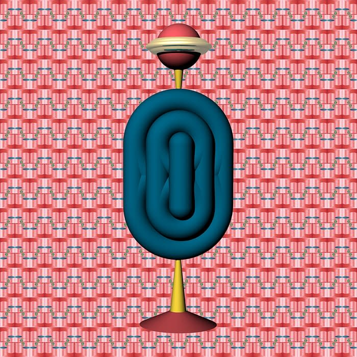 totem 3D double coquillage fond motif rouge