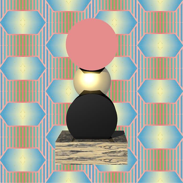 totem 3D pedestal fond motif rose et bleu