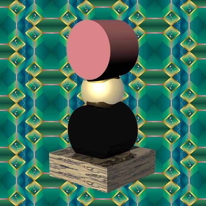 totem 3D pedestal fond motif vert