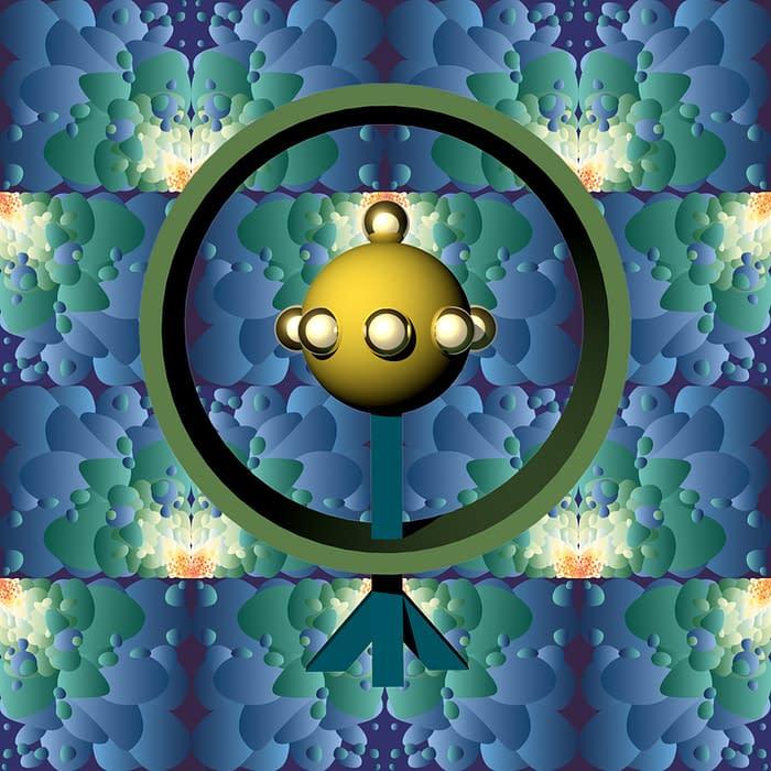 totem 3D sceptre motif bleu et vert